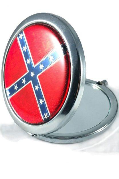 Rebel Confederate flag round pocket mirror