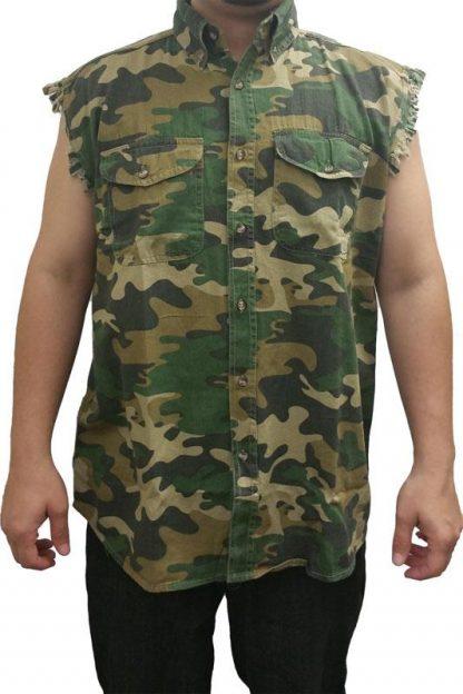 Camouflage frayed sleeveless men's denim biker shirt ST020816