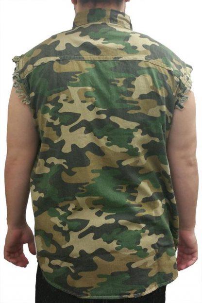 back view of Camouflage frayed sleeveless men's denim biker shirt