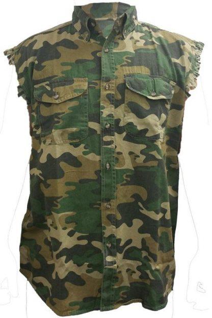Camo pattern frayed sleeveless men's denim biker shirt