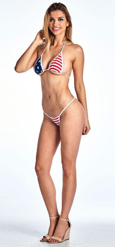full view USA American flag micro thong bikini 2-pc. set ST234