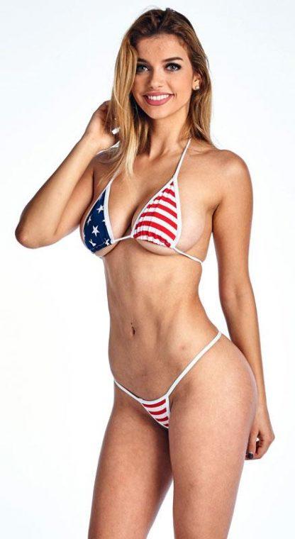 USA American flag micro thong bikini 2-pc. set