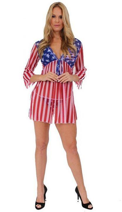 full view of ST261 American flag sheer long sleeve beach dress