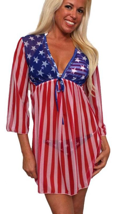 American flag sheer long sleeve beach dress