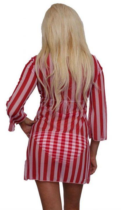 back view of American flag sheer long sleeve beach dress