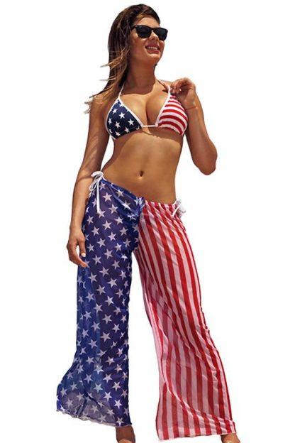 American flag sheer beach pants