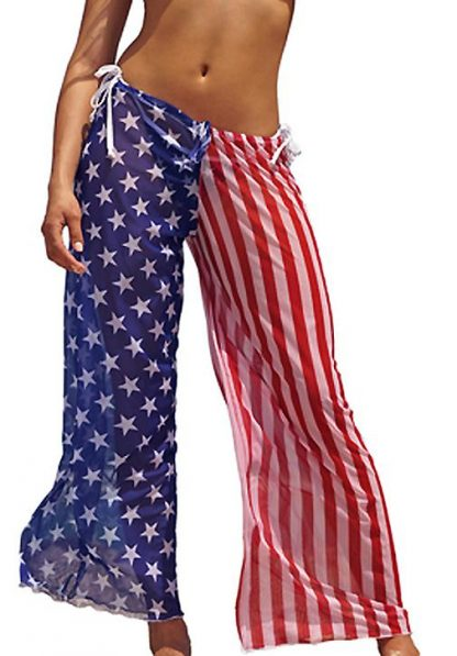 ST262 American flag sheer beach pants