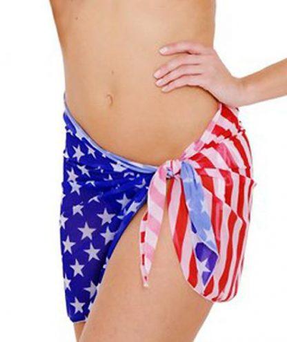 ST265 American flag sheer 16-inch beach wrap skirt