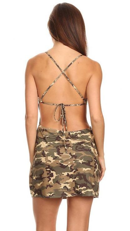 Camouflage beach dress with criss-cross back straps