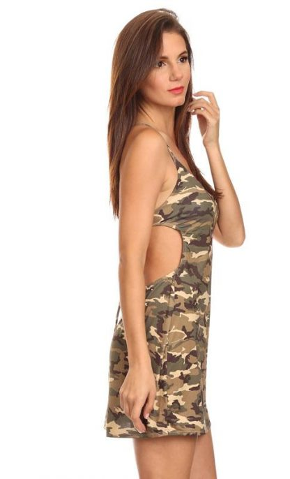 side view of Camouflage beach dress