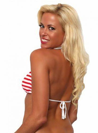 back view of American Flag stars and stripes bikini top