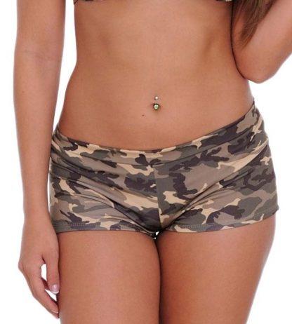 front of Camouflage bikini booty shorts