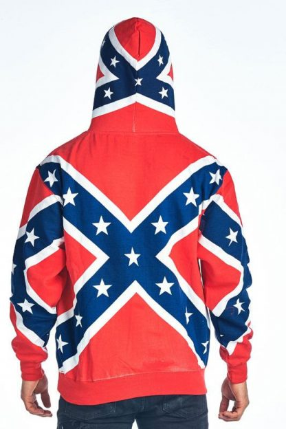 back view Rebel Confederate flag hoodie with hood up