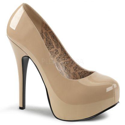 cream hidden platform wide width pump shoes with 5-inch heel Teeze-06W