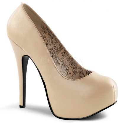 cream faux leather wide width pump shoes with 5-inch heel Teeze-06W