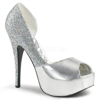 silver peep toe D'Orsay pump shoes with 5-inch heel Teeze-41W