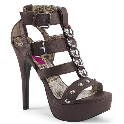 brown Strappy T-strap close-back sandal shoes with metal rings and studs 5-inch heel Teeze-42W