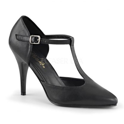 black faux leather T-strap pump shoes with 4-inch spike heels Vanity-415