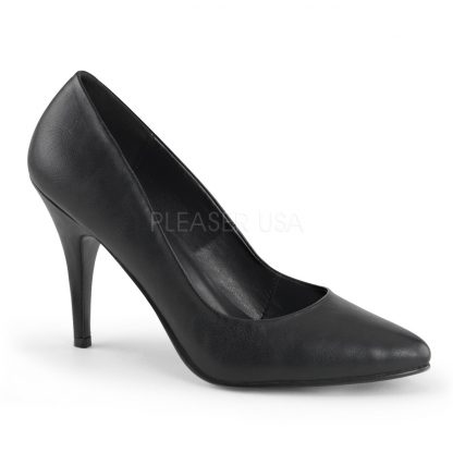 Classic woman's black velvet pump shoe with 4-inch heels Vanity-420