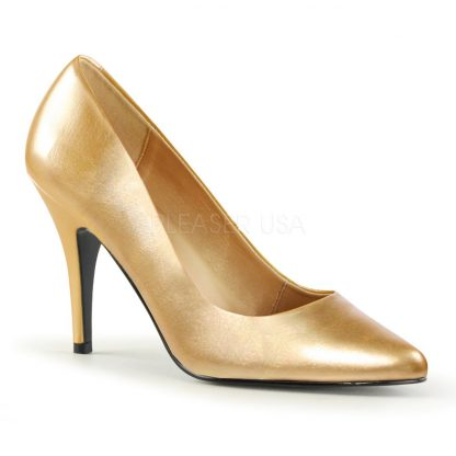 Classic woman's gold pump shoes with 4-inch spike heels Vanity-420