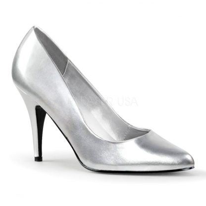 Classic woman's silver pump shoes with 4-inch spike heels Vanity-420