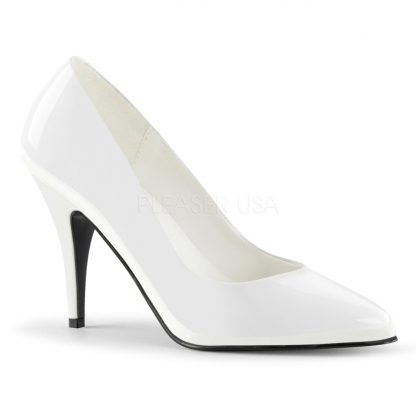 Classic woman's white pump shoe with 4-inch spike heels Vanity-420
