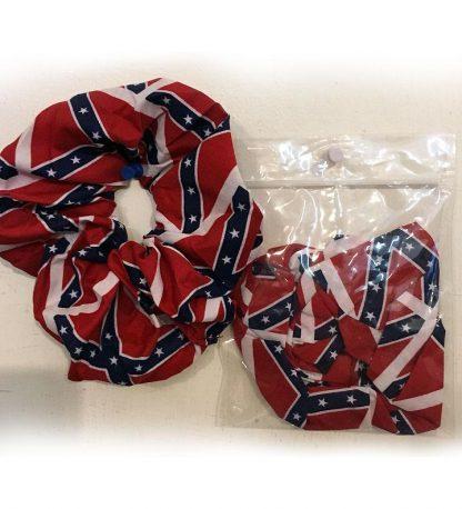 Rebel flag scrunchie hair tie