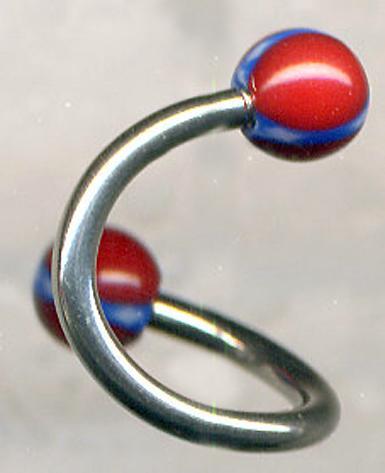 Rebel flag 10mm spiral belly body jewelry BJ51