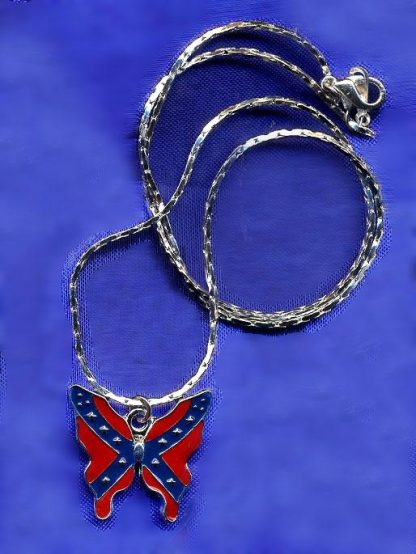 Rebel flag butterfly necklace