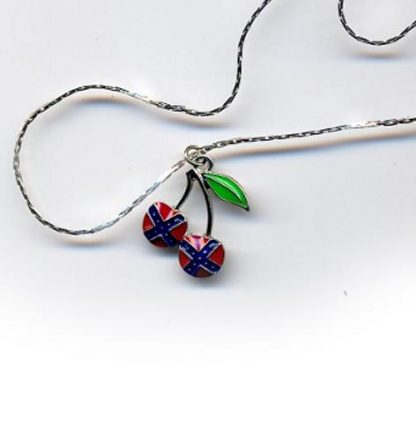 Rebel flag necklace with pendant of two cherries